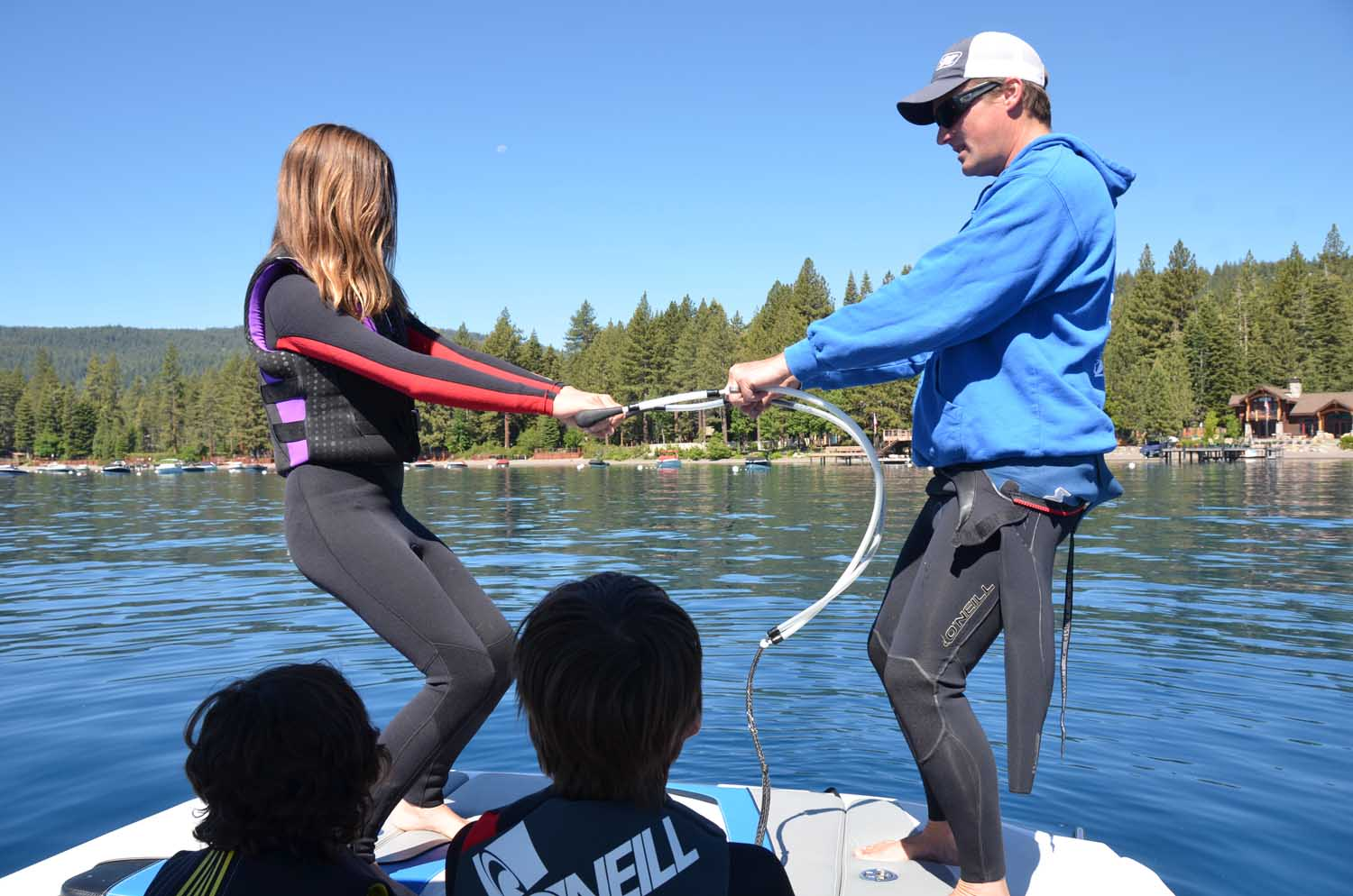 In boat instruction on Lake Tahoe